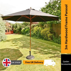 Sturdi 3m Hardwood Frame Garden Parasol Black