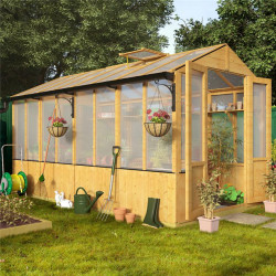 Lincoln Wooden Polycarbonate Greenhouse with Opening Roof Vent 12 X 6 Lincoln Wooden Greenhouse Billyoh 4000