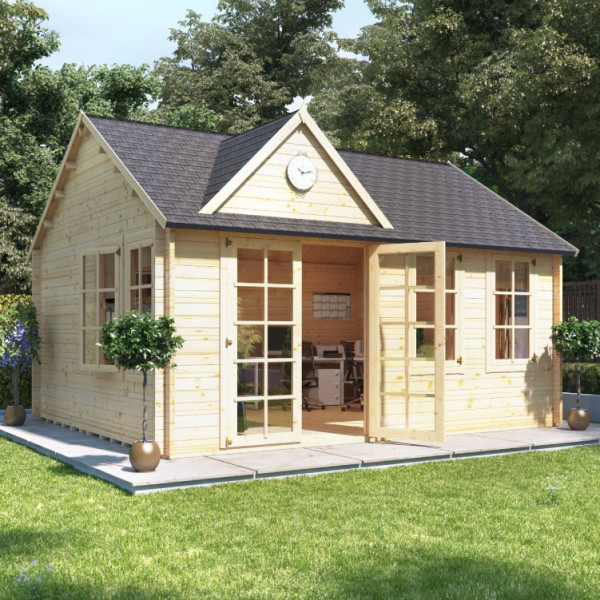 Buy 5.0m x 4.0m BillyOh Clubhouse Home Office Log Cabin 35,44 Online - Garden Houses & Buildings