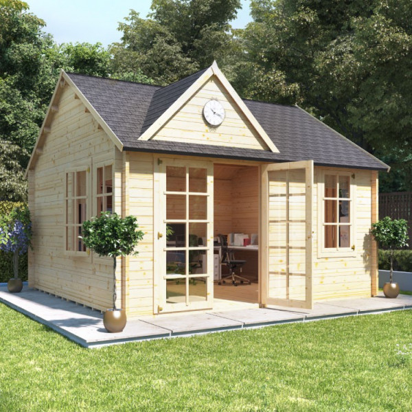 Buy 4.5m x 4.0m BillyOh Clubhouse Home Office Log Cabin 35,44 Online - Garden Houses & Buildings