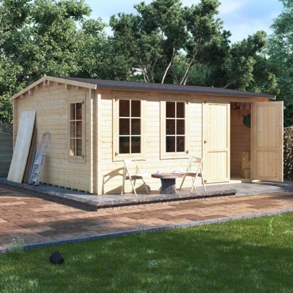 Buy 5.0m x 4.5m BillyOh Traditional Log Cabin Workshop 70 Online - Garden Houses & Buildings