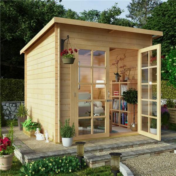 Buy 8x8 BillyOh Pent Log Cabin Summerhouse Range 19 Online - Garden Houses & Buildings