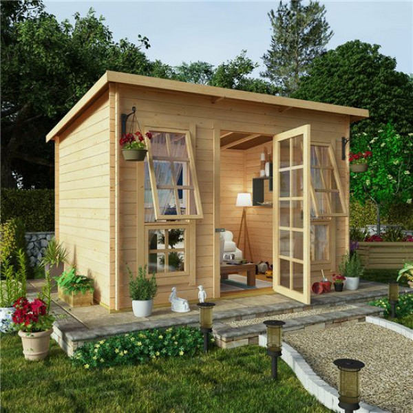 Buy 10x8 BillyOh Pent Log Cabin Summerhouse Range 19 Online - Garden Houses & Buildings