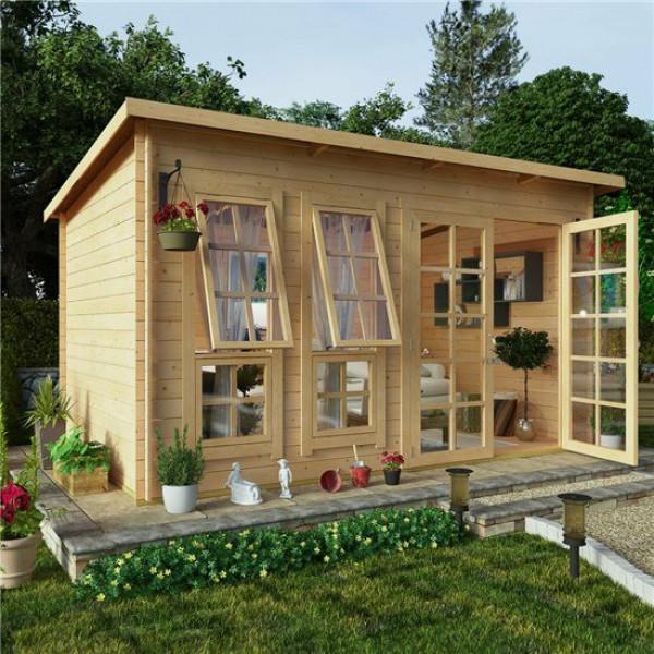 Buy 12x8 BillyOh Pent Log Cabin Summerhouse Range 19 Online - Garden Houses & Buildings