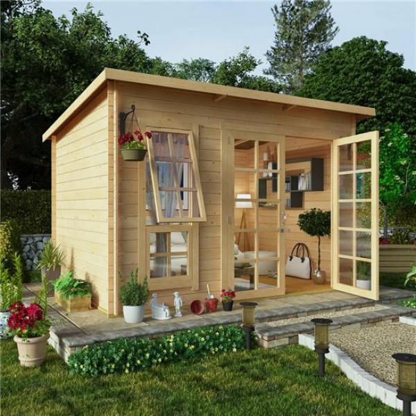 Buy 10x8 BillyOh Pent Log Cabin Summerhouse Range 19 Online - Garden Houses & Buildings