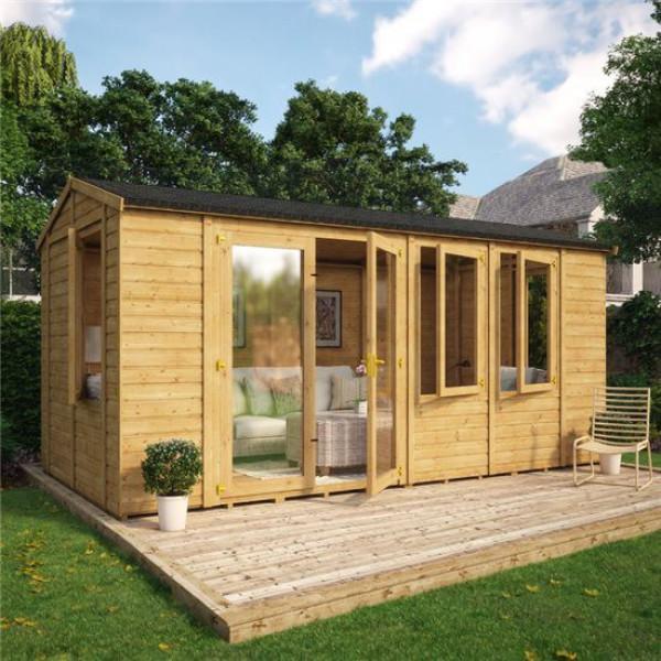 Buy Grandmaster 6000 Diplomat Offset Door Reverse Apex Summerhouse 16x8 Online - Garden Houses & Buildings