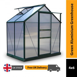 Billyoh Rosette Hobby Aluminium Greenhouse Single Sliding Door, Twin Wall Polycarbonate Glazing 6x4 Green