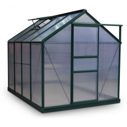 Billyoh Rosette Hobby Aluminium Greenhouse Single Sliding Door, Twin Wall Polycarbonate Glazing 6x8 Green