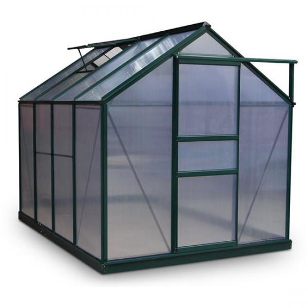 Buy BillyOh Rosette Hobby Aluminium Greenhouse Single Sliding Door, Twin Wall Polycarbonate Glazing 6x8 Green Online - Greenhouses
