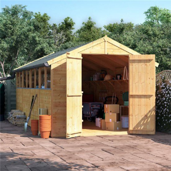 Buy 16' x 8' BillyOh Master Tongue and Groove Apex Shed Windowed Online - Sheds
