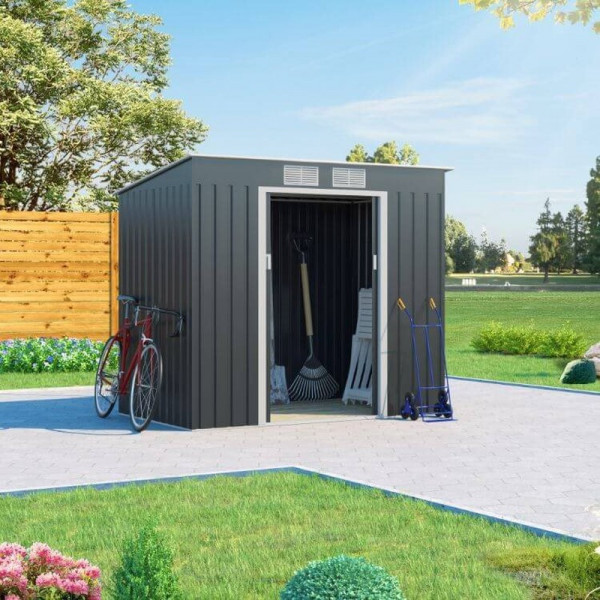 Buy 7x4 Cargo Pent Metal Shed Grey BillyOh Online - Sheds