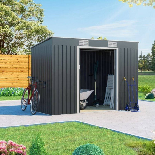 Buy 9x4 Cargo Pent Metal Shed Grey BillyOh Online - Sheds