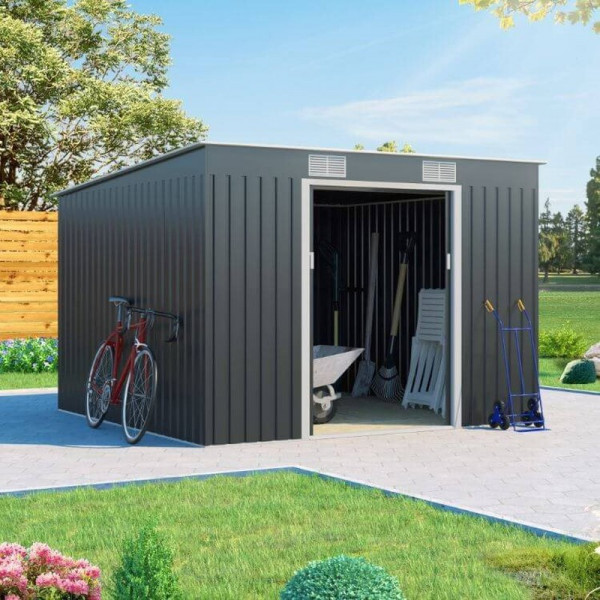 Buy 9x8 Cargo Pent Metal Shed Grey BillyOh Online - Sheds