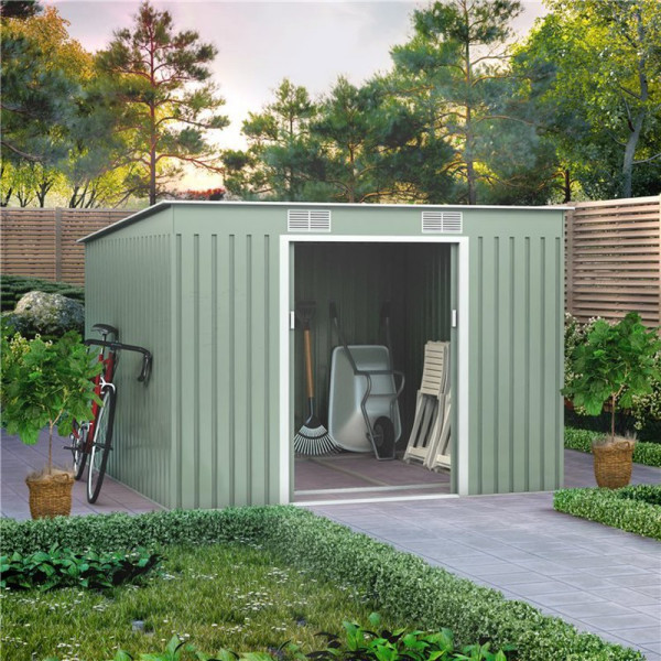 Buy 9x8 Cargo Pent Metal Shed Green BillyOh Online - Sheds