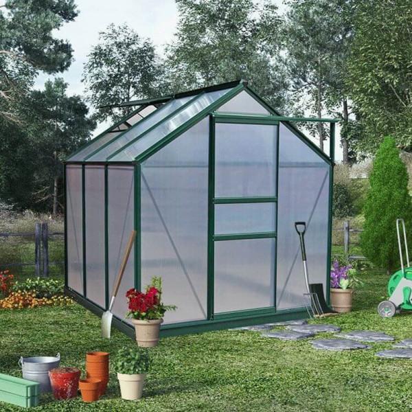 Buy BillyOh Rosette Hobby Aluminium Greenhouse Single Sliding Door 6 x 6 Green Online - Greenhouses