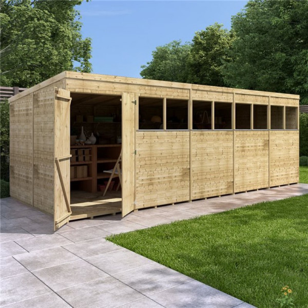Buy BillyOh Expert Tongue and Groove Pent Workshop PT 20x8 Expert T&G Pent Shed Windowed Online - Sheds
