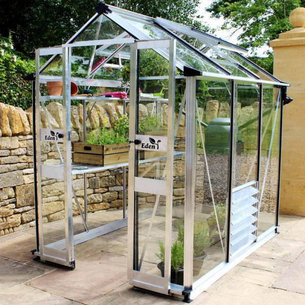 Buy Eden Birdlip 44 Greenhouse Black Aluminium Online - Green plants & flowering plants